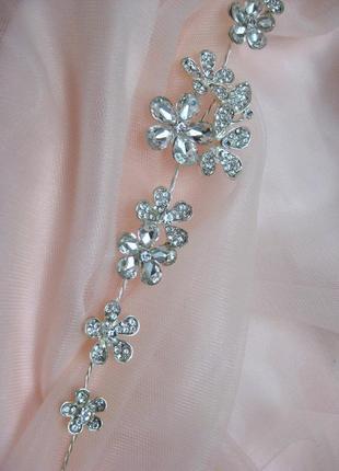 Украшение для волос белые камни цветы под серебро заколка венок