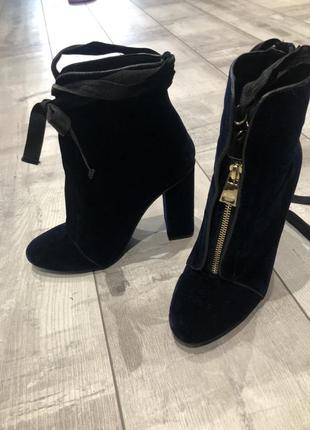 Супер ботинки темносинего цвета, бархат, zara