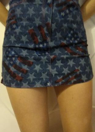 Юбочка с британским флагом, тонкий джинс