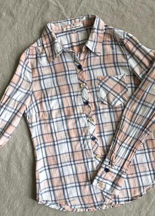 Фланелевая рубашка в клетку нежно персиковая