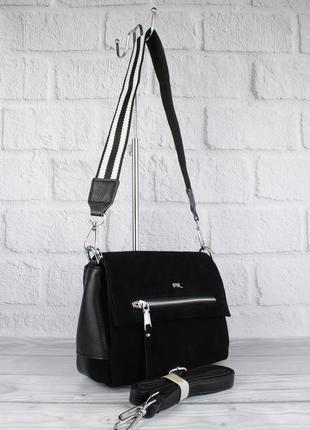 Стильная сумочка farfalla rosso 3112 черная с замшевой вставкой