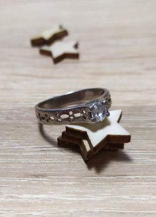 Серебряное кольцо с камнем, как обручальное, 925 проба