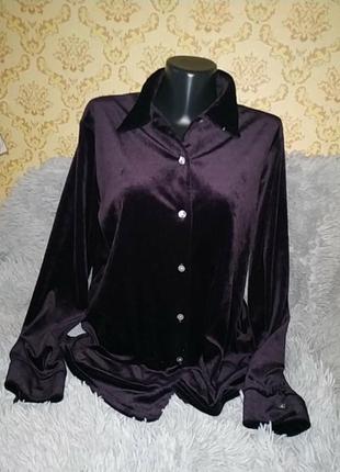 Велюровая бархатная блузка рубашка classics
