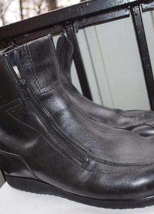 Кожаные зимние ботинки на широкую стопу овчина размер 45