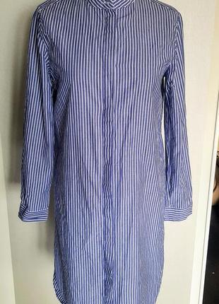 Клевое платье рубашка в сине белую полоску с боковыми полукруглыми разрезами