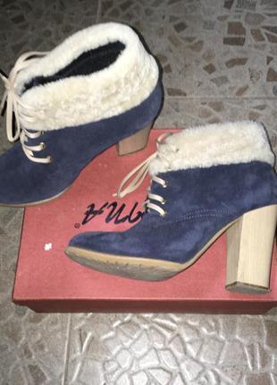 Синие замшевые ботинки, 38-39 размер
