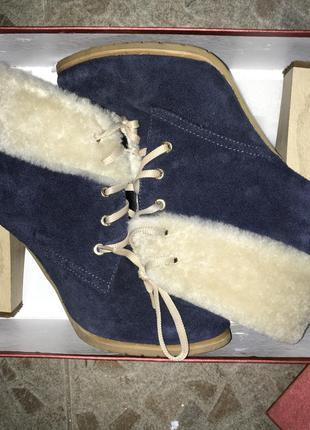 Замшевые деми ботинки на высоком каблуке,38 размер