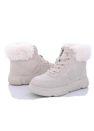 Бежевые зимние ботинки/супер стильные/ наложка