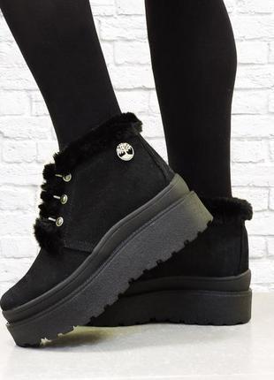 """Женские зимние ботинки """"top"""" черные"""