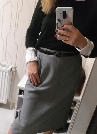 Женская серая классическая юбка высокой посадки ниже колена англия berkertex