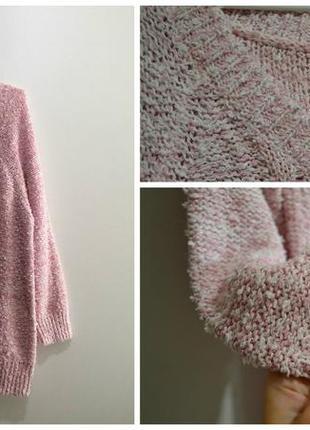 Розовый с белым пушистый свитер вязаный травка, поп-корн2