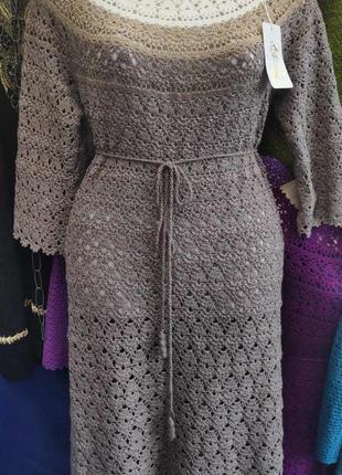 Платье серо- розовое ручной работы