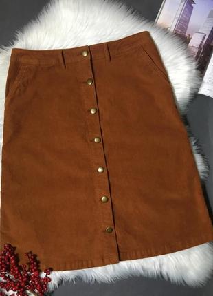 Плотная вельветовая юбка с пуговицами