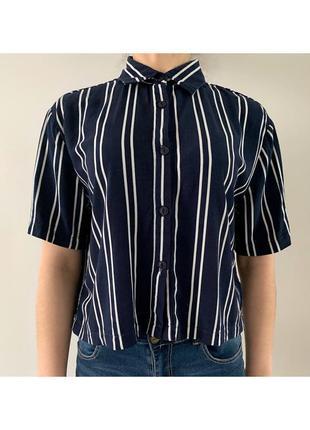 Рубашка в полоску, синя з білим рубашка з короткими рукавами, блуза.