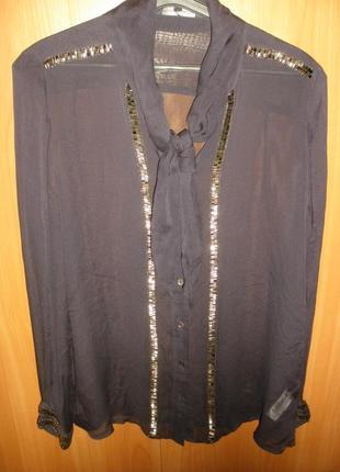 Интересная полупрозрачная шелковая блуза рубашка 100% шелк french connection /англ 16