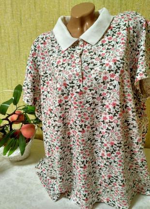 Качественная футболка в цветочный принт