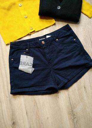 Шорты джинсовые темно синие от stradivarius