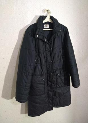 Куртка длинная чёрная пуховик зимний