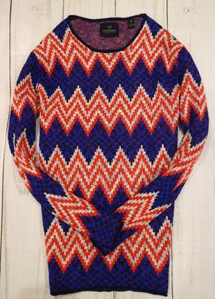 Удлинённый свитер в яркий принт, l-xl