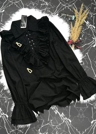 Плотная нарядная хлопковая ретро блузка с жабо большой размер