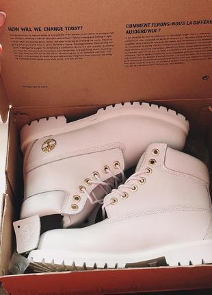 Ботинки зимние белые timberlands