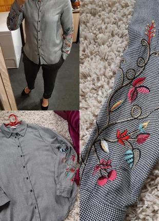Стильная рубашка в полоску с вышивкой на рукавах, h&m . p. 8-10
