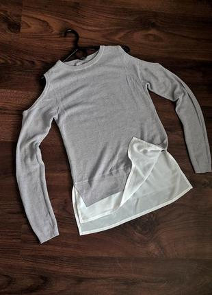 Asos свитер с имитацией рубашки блуза с открытыми плечами вязаный