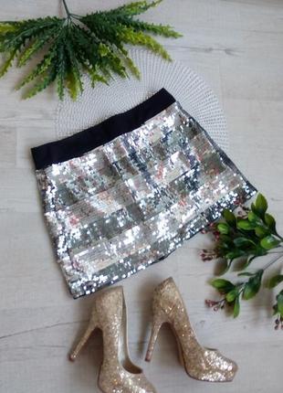 Серебристая короткая мини юбка из пайеток серебро  на новый год фотосессию вечеринку к