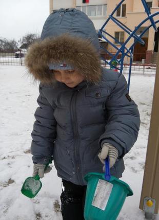 Куртка bellini на пуху, натуральный мех для мальчика 6 лет