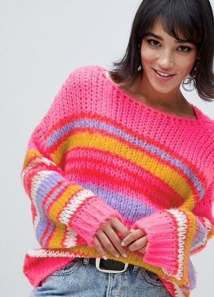 Стильный яркий вязаный свитер stradivarius