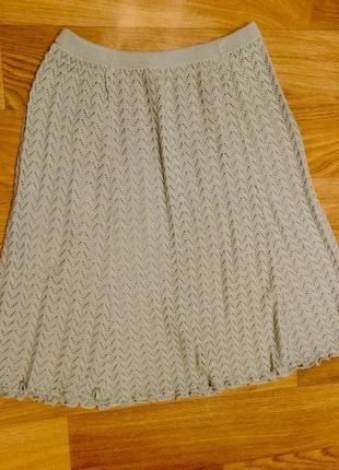 Ажурная вязаная юбка плиссе плиссированная большого размера