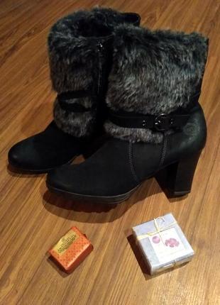 Черные нобуковые ботинки р-р.40 marko tozzi германия
