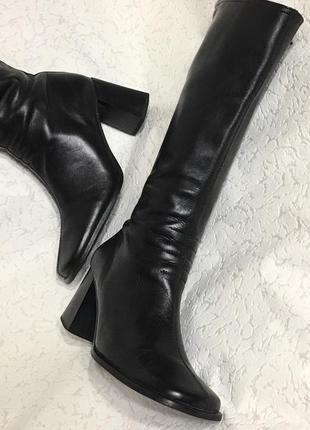Скидки! супер стильные кожаные высокие сапоги