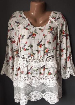 Шикарная блуза украшенная кружевом