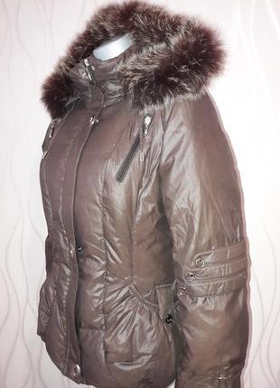 Пуховая супер красивая, нежная, модная, теплая, коричневая курточка. snow boom