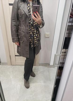 Кожаное пальто р-р м