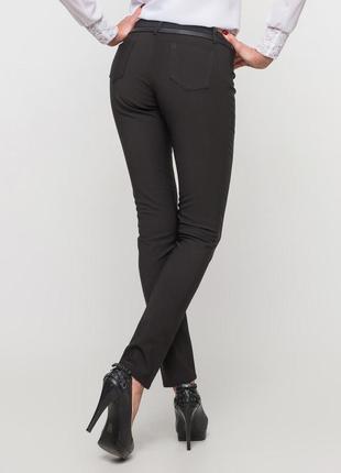 Черные зауженные брюки на флисе штаны скини леггинсы лосины с флисом