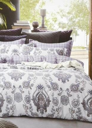 """Комбинированный комплект постельного белья евро 200x230 cm тм """"koloco"""" фланель 4 наволочки"""