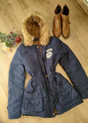 """Акция!!! молодёжная куртка парка """"army"""" с мехом и капюшоном"""