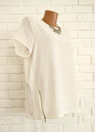 Необычная футболка из фактурной ткани и змейками по бокам dunnes uk16
