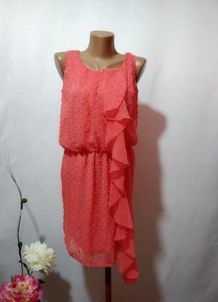 Нежное шифоновое платье с вышивкой плюмети и воланом