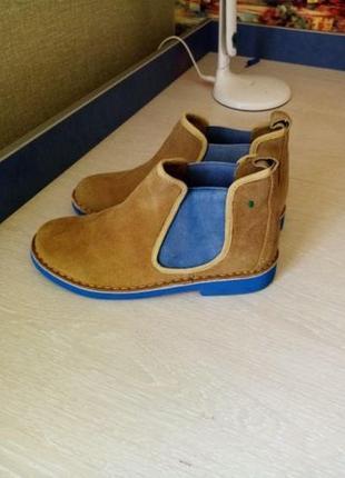 Замшевые стильный деми ботинки, туфли италия новые р. 37