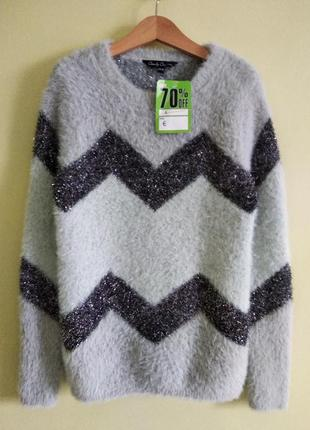 ♥ очаровательный очень теплый зимний нарядный свитер на девочку 10-11 лет ♥
