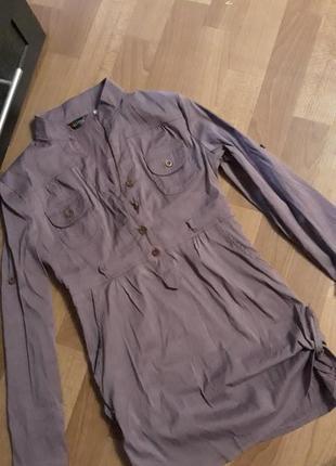 Стильная рубашка-туника,р.хс/с, фиолет