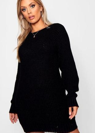 Женский свитер оверсайз удлиненный чёрного цвета