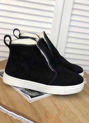 Хит этого года! высокие слипоны кеды ботинки из натуральной замши чёрного цвета