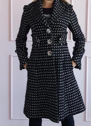 Пальто черное белое karen millen в стиле chanel женское теплое длинное шерсть шерстяное