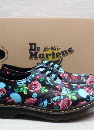 Кожаные женские туфли с цветами и черепами dr. martens 1461 оригинал, размер 39