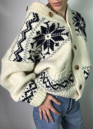 Теплый вязанный объемный крупной вязки кардиган свитер в скандинавский принт one size!