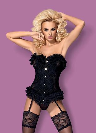 Baletti black corset obsessive элегантный корсет черного цвета на шнуровке